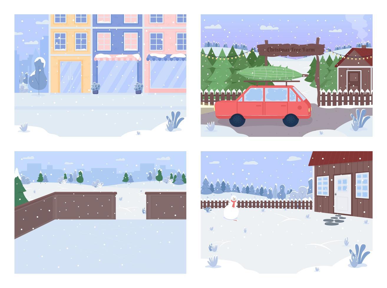 Winter city flat vector
