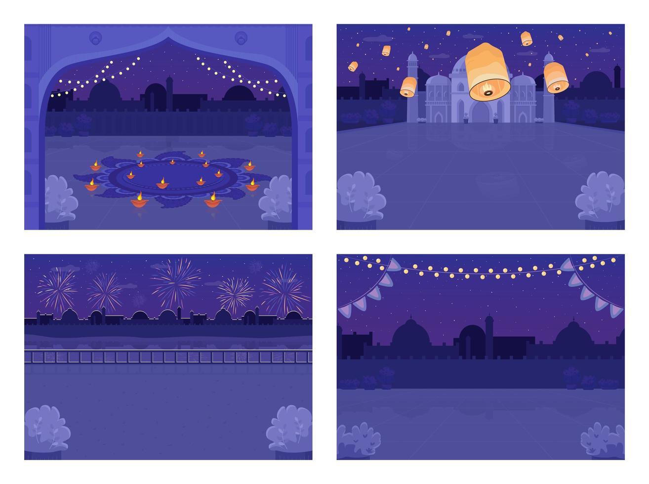celebración navideña hindú nocturna vector