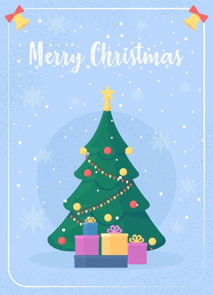 tarjeta de felicitación del árbol de navidad vector