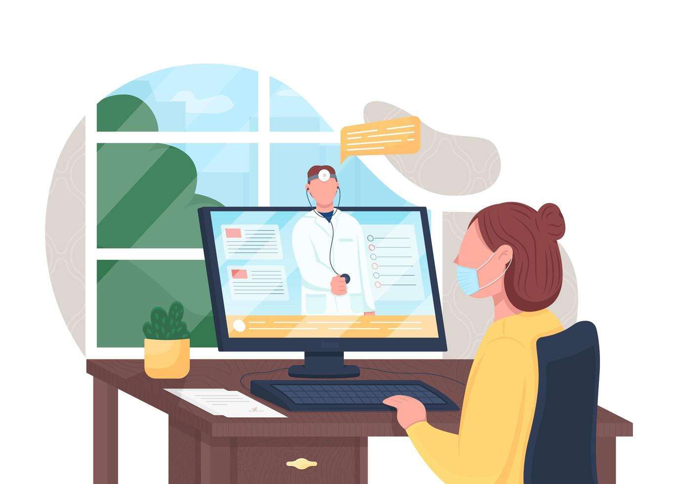 Online doctor consultation vector