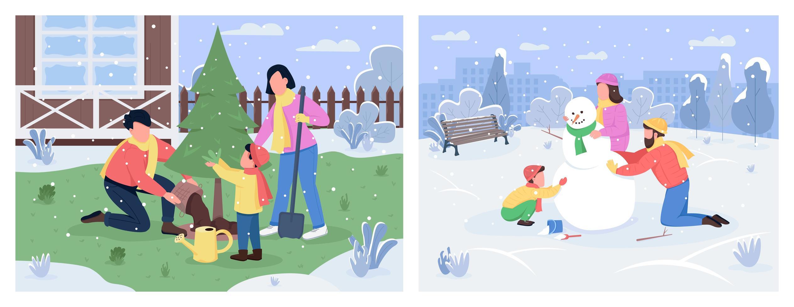 conjunto de actividades familiares de invierno vector