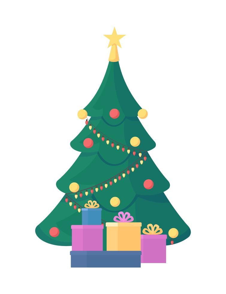 Christmas tree flat vector