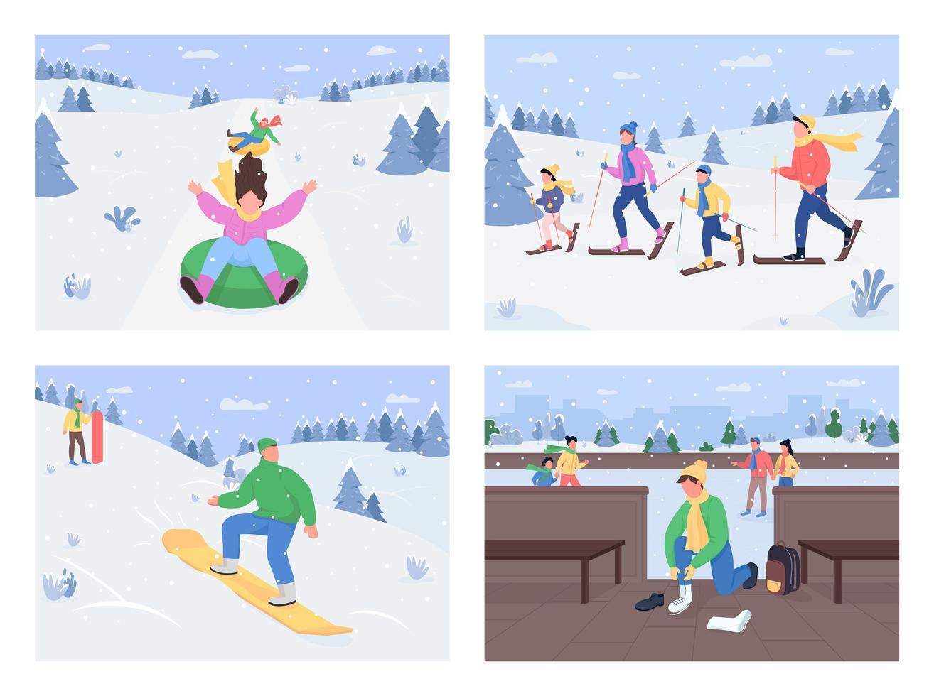 Winter fun activities vector