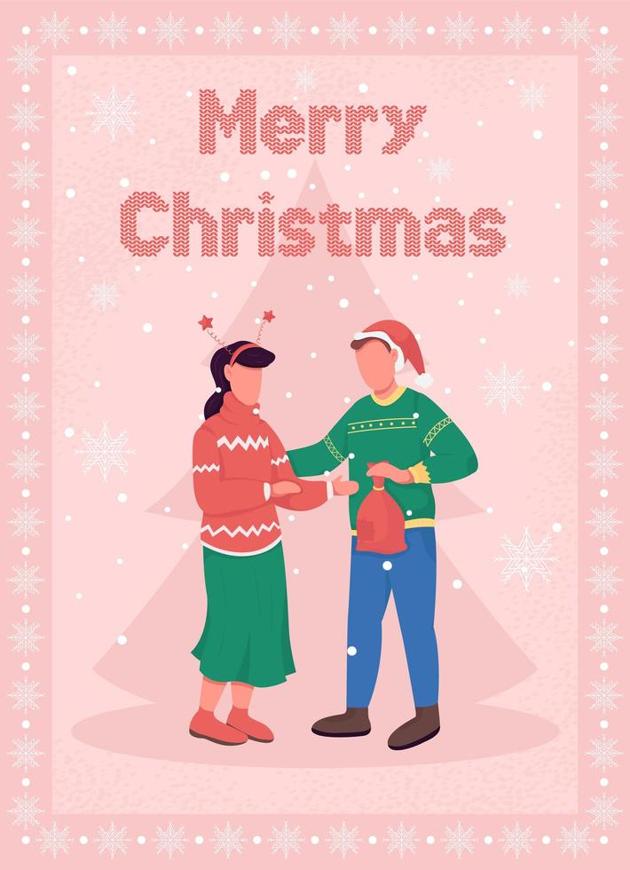 Christmas celebration for couple greeting card vector