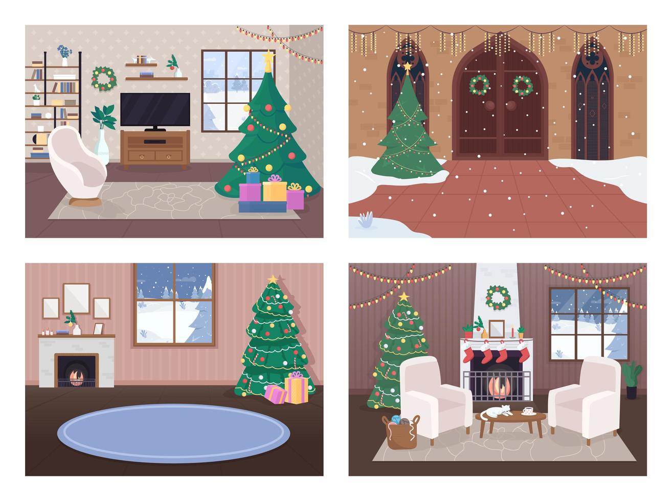 Christmas house inside set vector