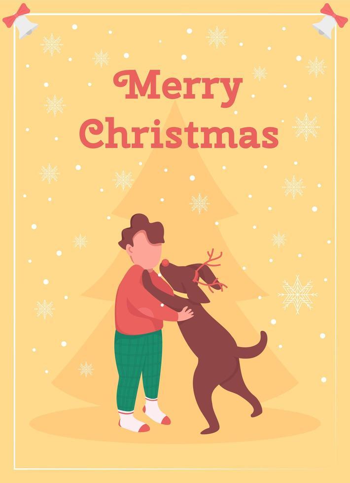 niño, celebrar, navidad, tarjeta de felicitación vector