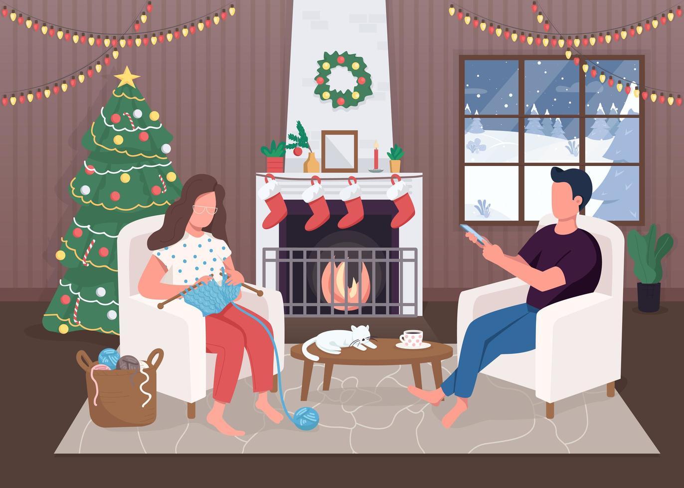noche de navidad junto al fuego vector