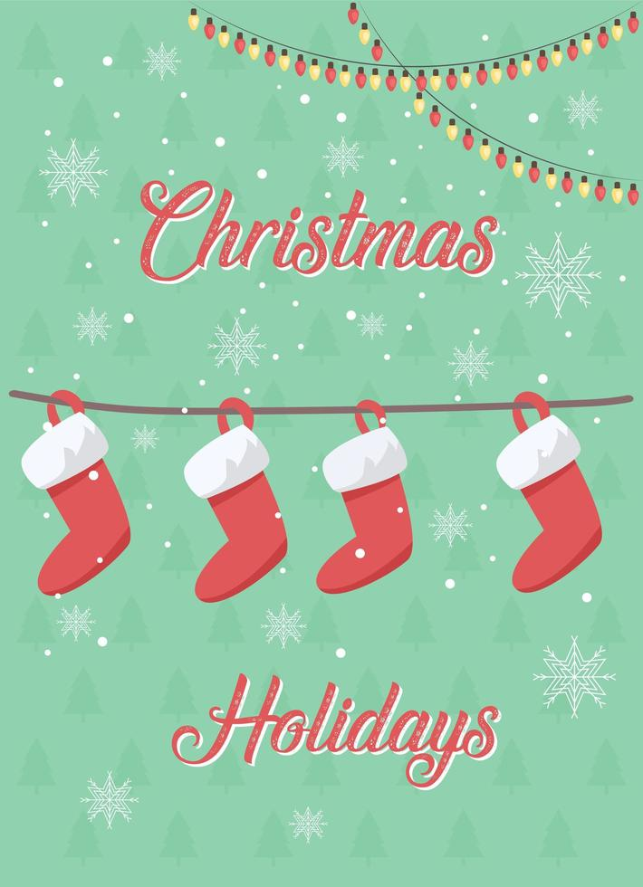 Christmas stockings greeting card vector
