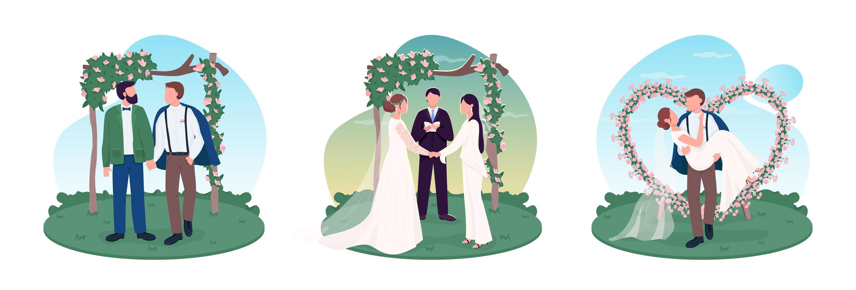 conjunto de parejas de recién casados vector