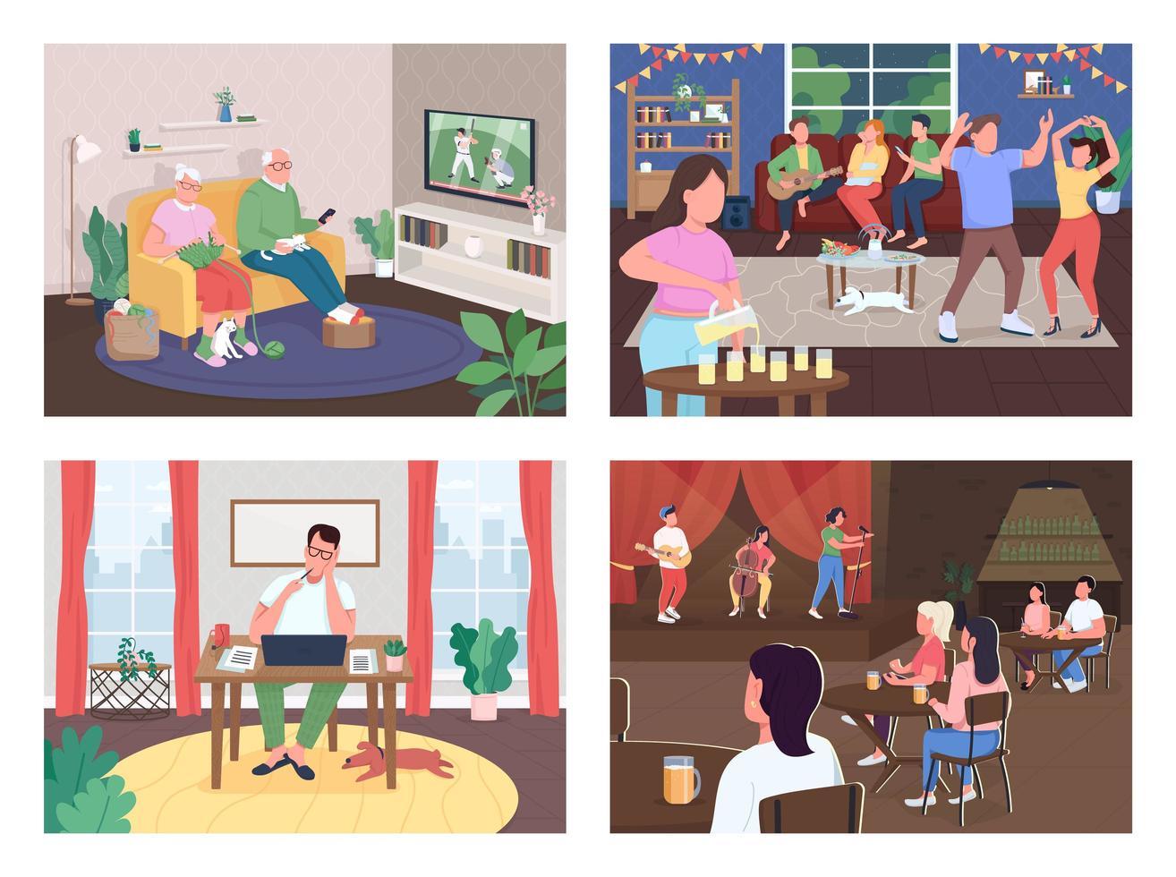 conjunto de actividades de entretenimiento vector