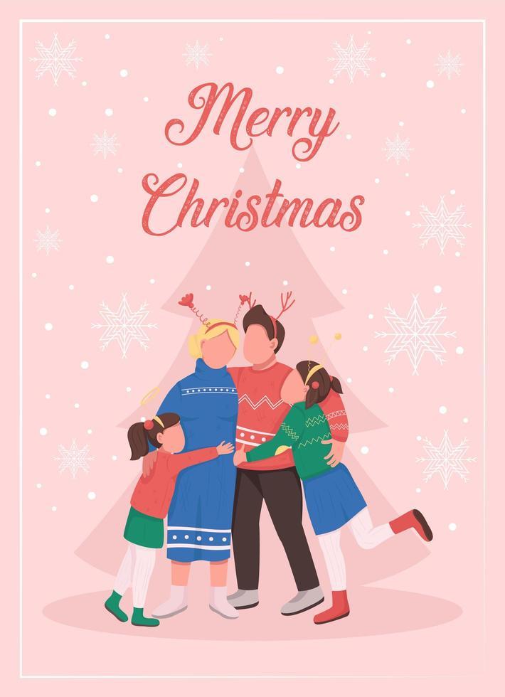 navidad con tarjeta de felicitación familiar vector