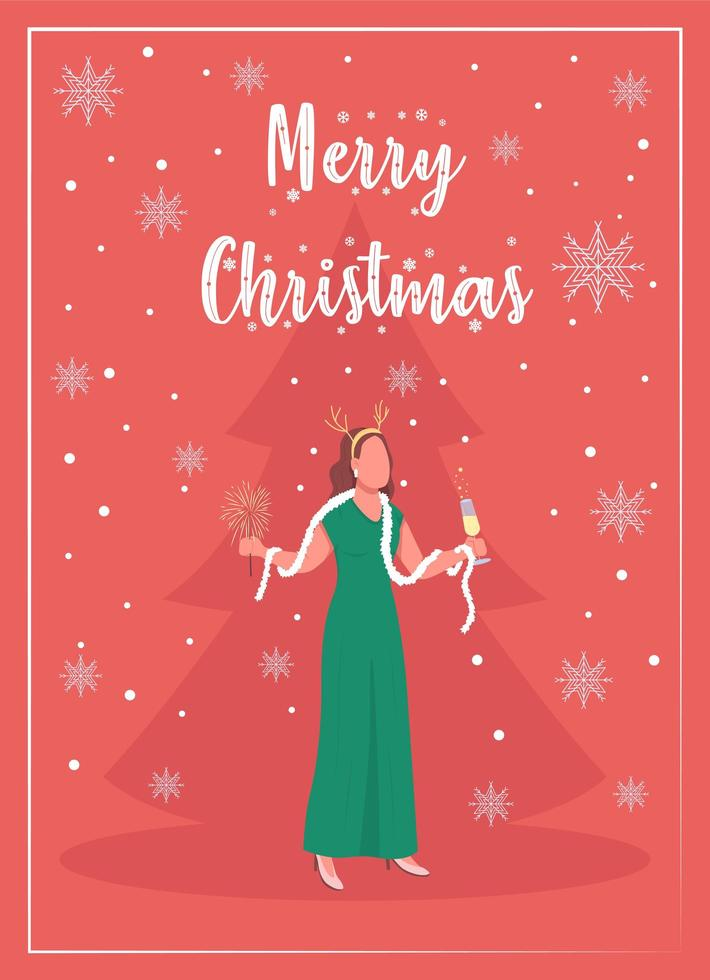 Winter holiday party greeting card vector