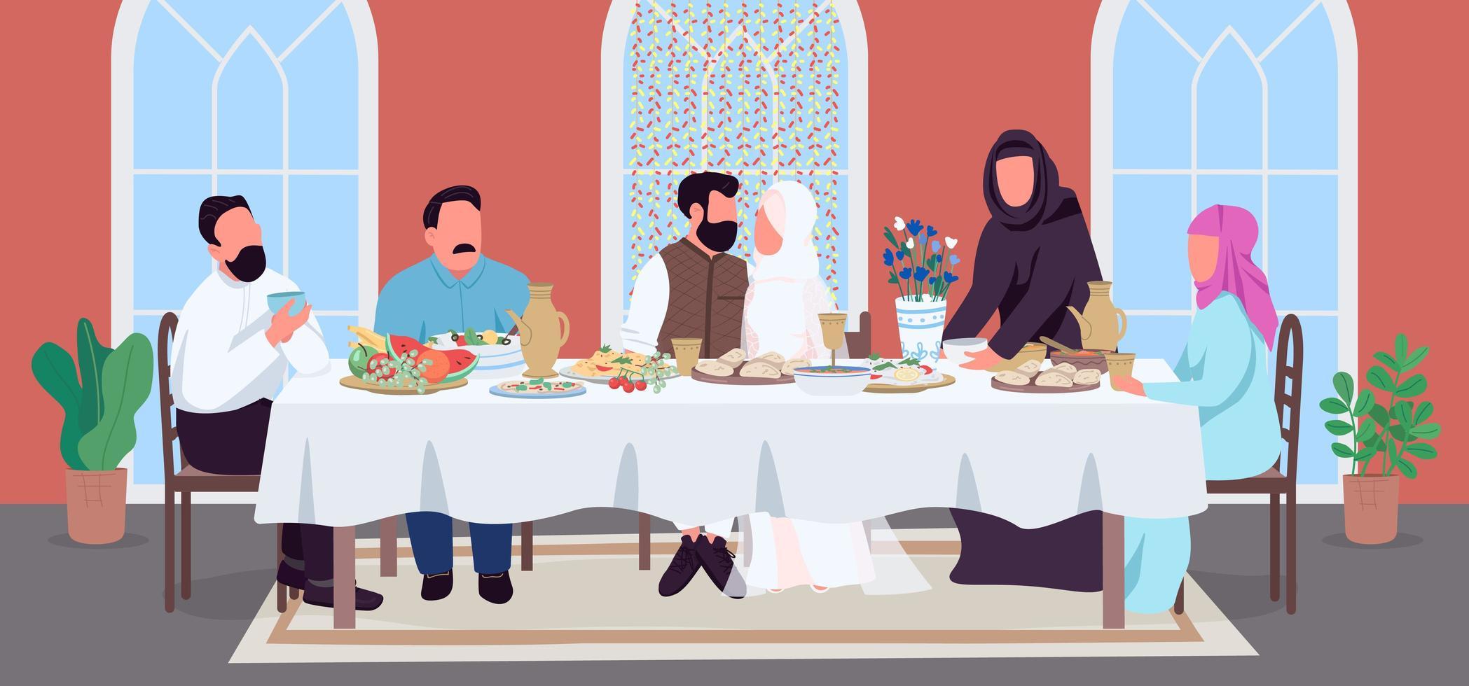 cena de boda musulmana vector