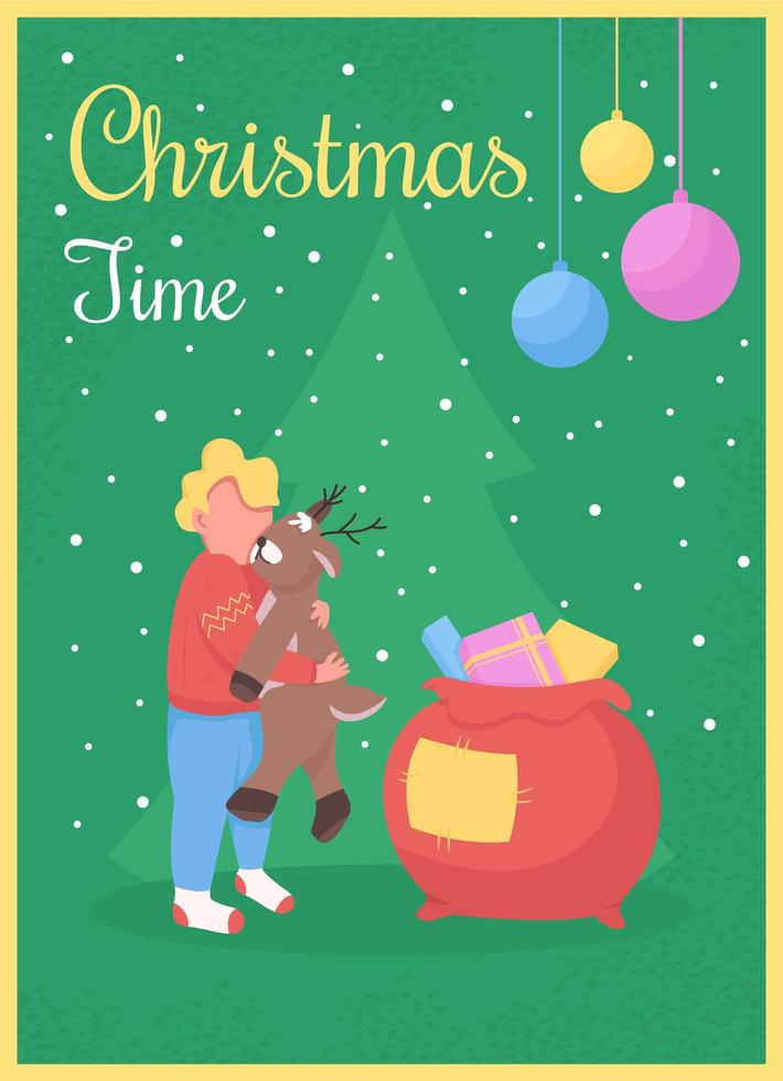 Christmas time greeting card vector