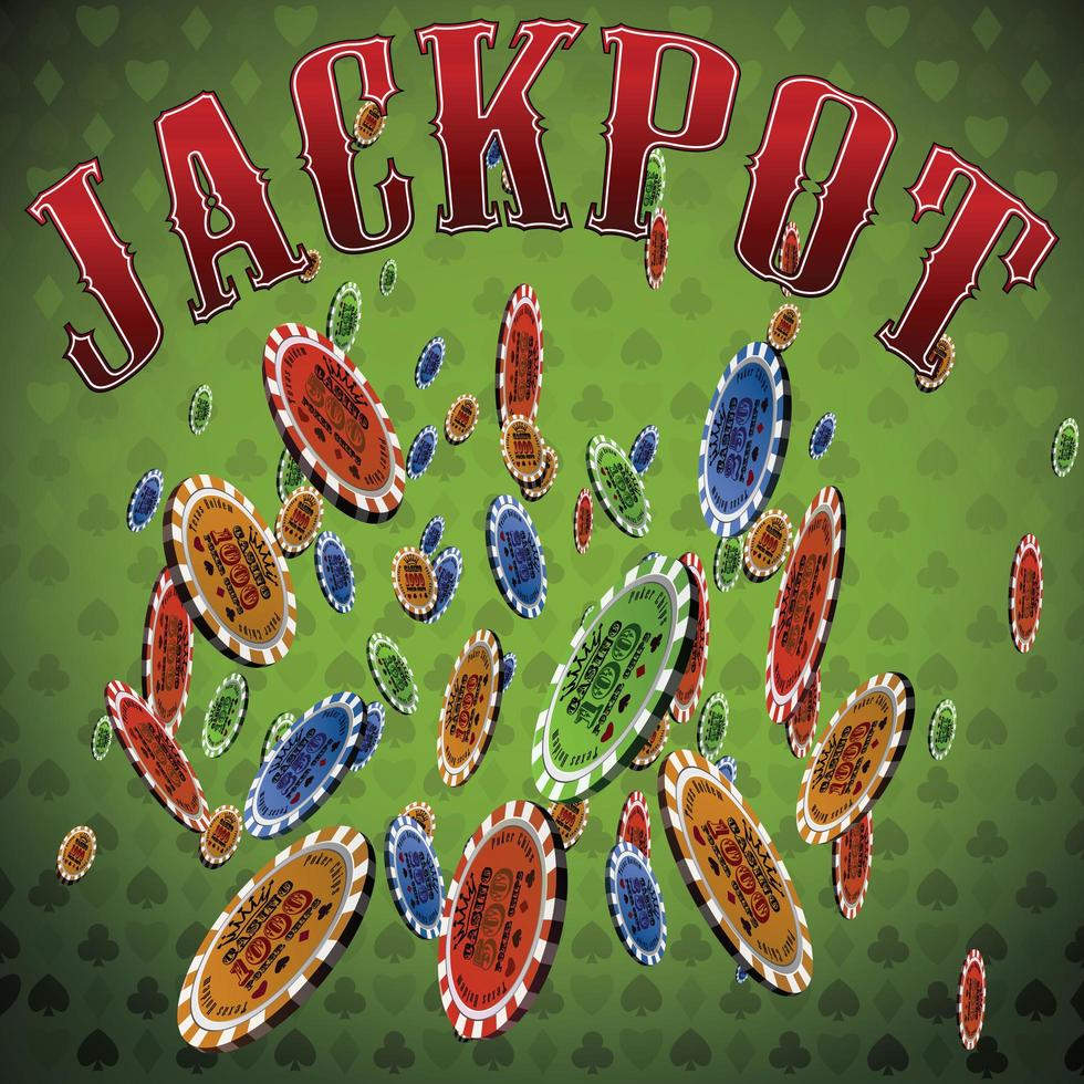 Poker chips many falling green background text Jackpot vector