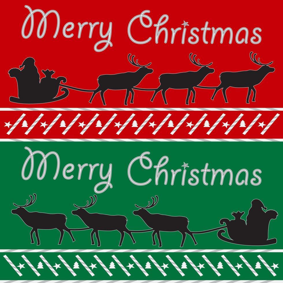 tarjeta postal de feliz navidad con santa y ciervos vector