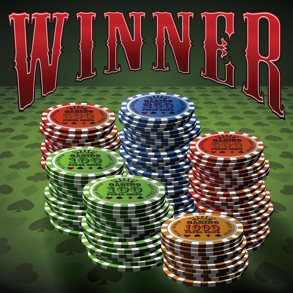 Pocker chip many green background text Winner vector