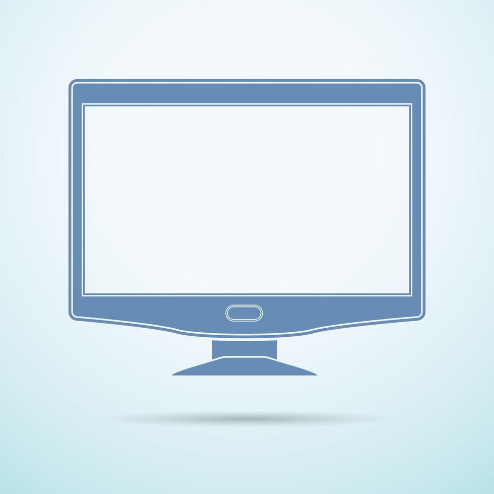Widescreen monitor flat icon on blue background vector