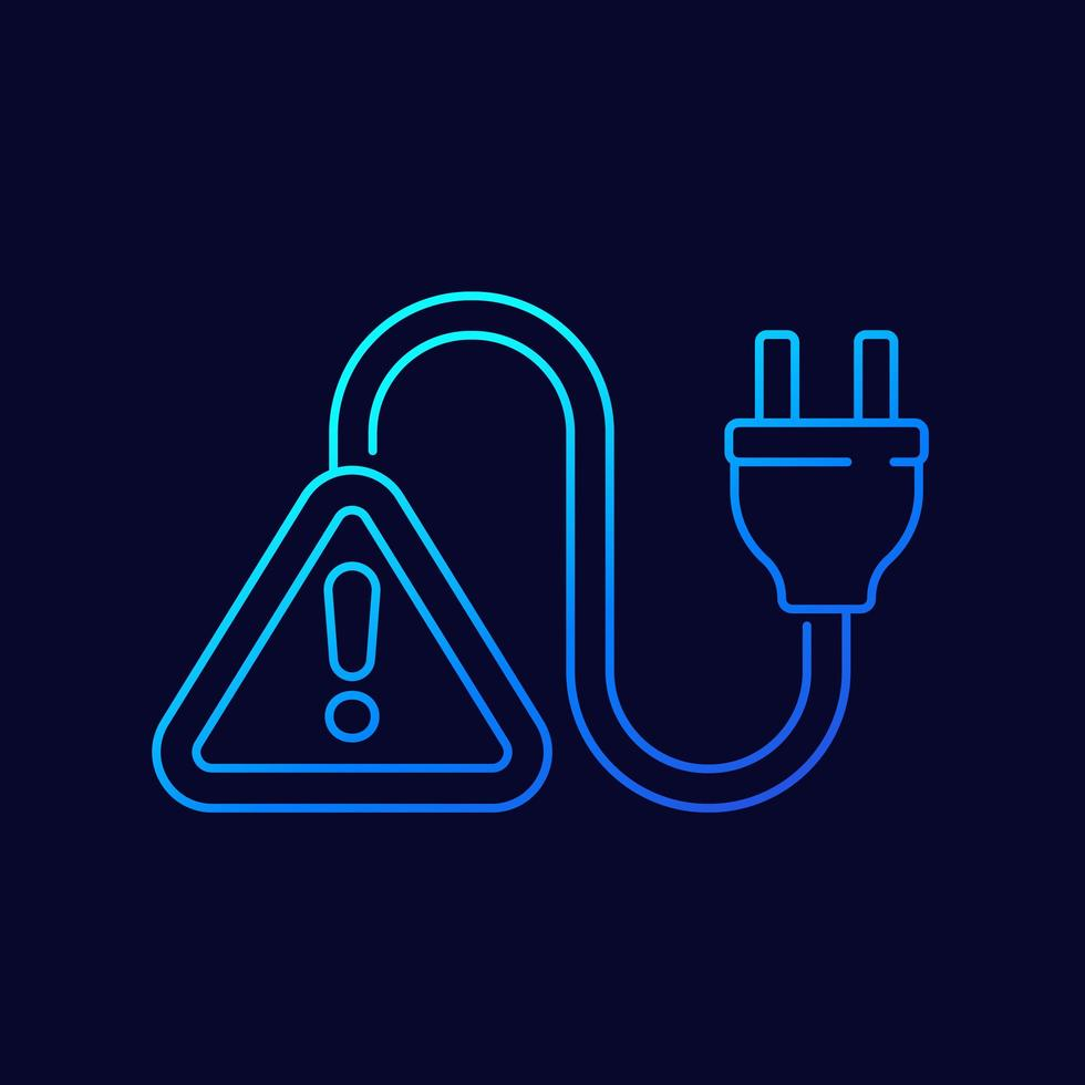 Electric plug and warning alert line icon vector
