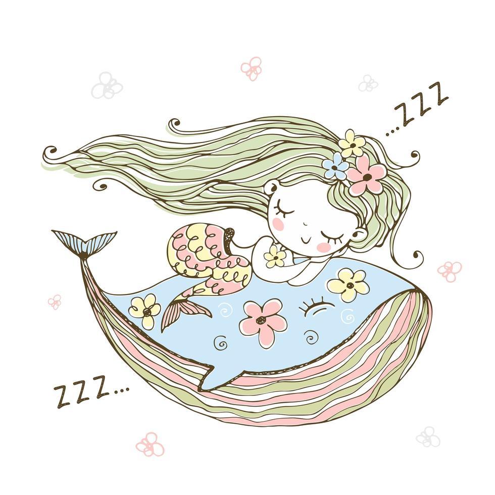 linda sirenita durmiendo sobre una ballena. vector
