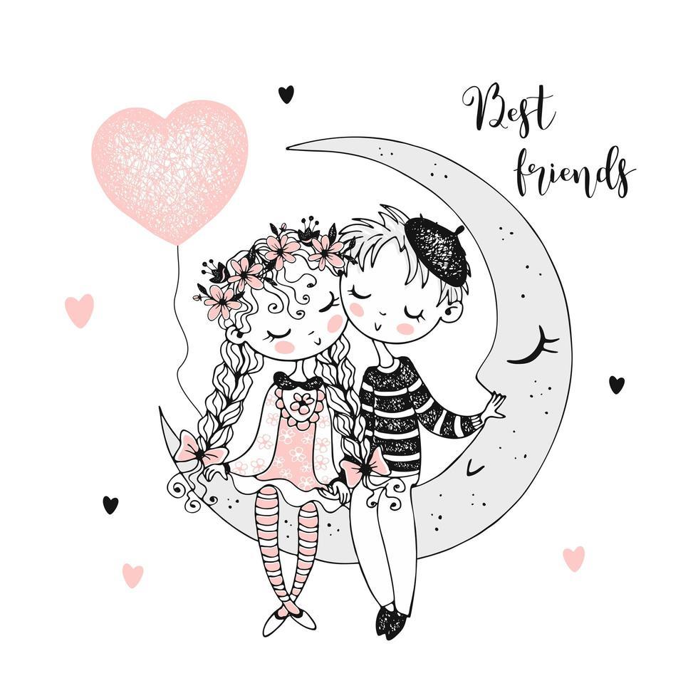 lindo niño y niña sentados en la luna. vector