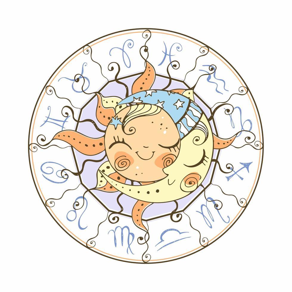 el sol y la luna símbolo de la astrología vector