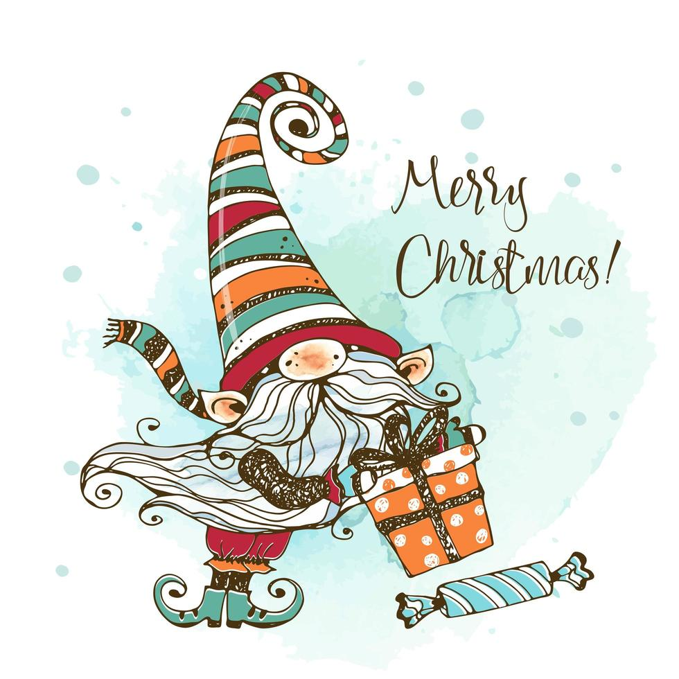 Cute Christmas gnome with gifts in Doodle style. vector