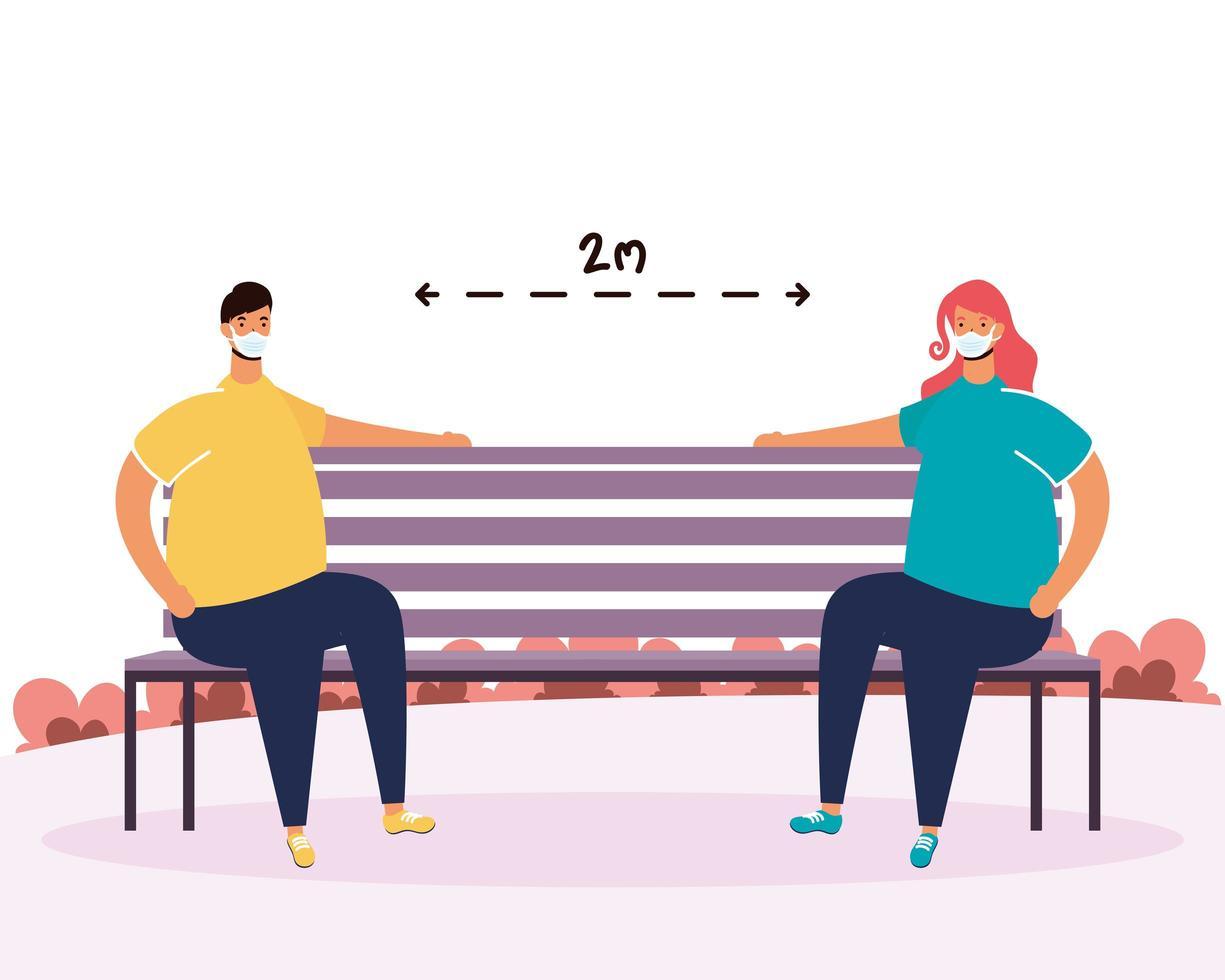 pareja practicando el distanciamiento social en el parque vector