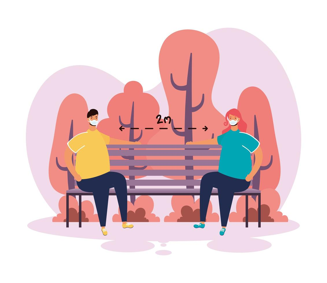 Couple practicing social distancing in the park vector