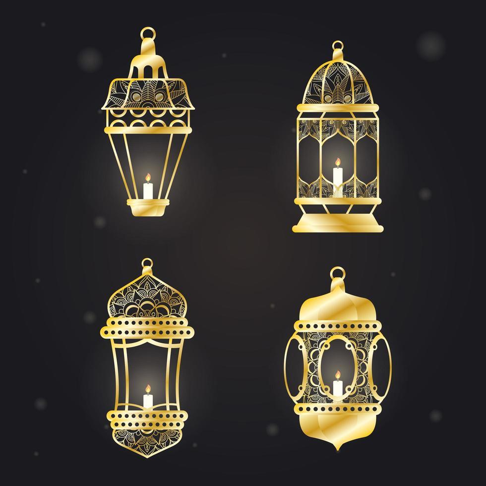 Lámparas de estilo árabe colgando conjunto de iconos vector
