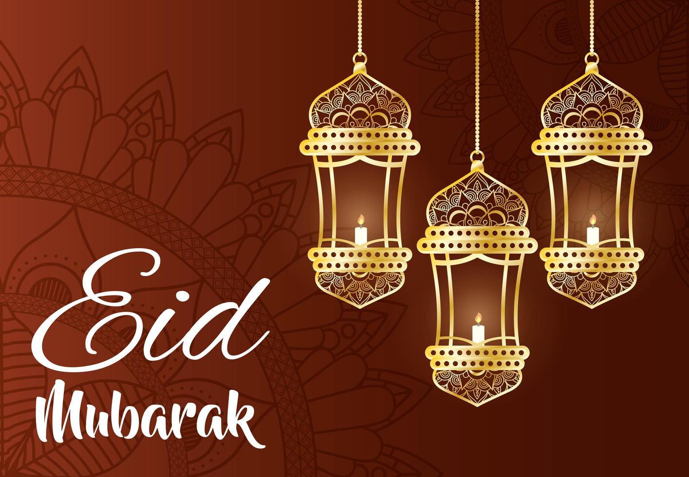 Banner de celebración de eid mubarak con lámparas colgantes. vector
