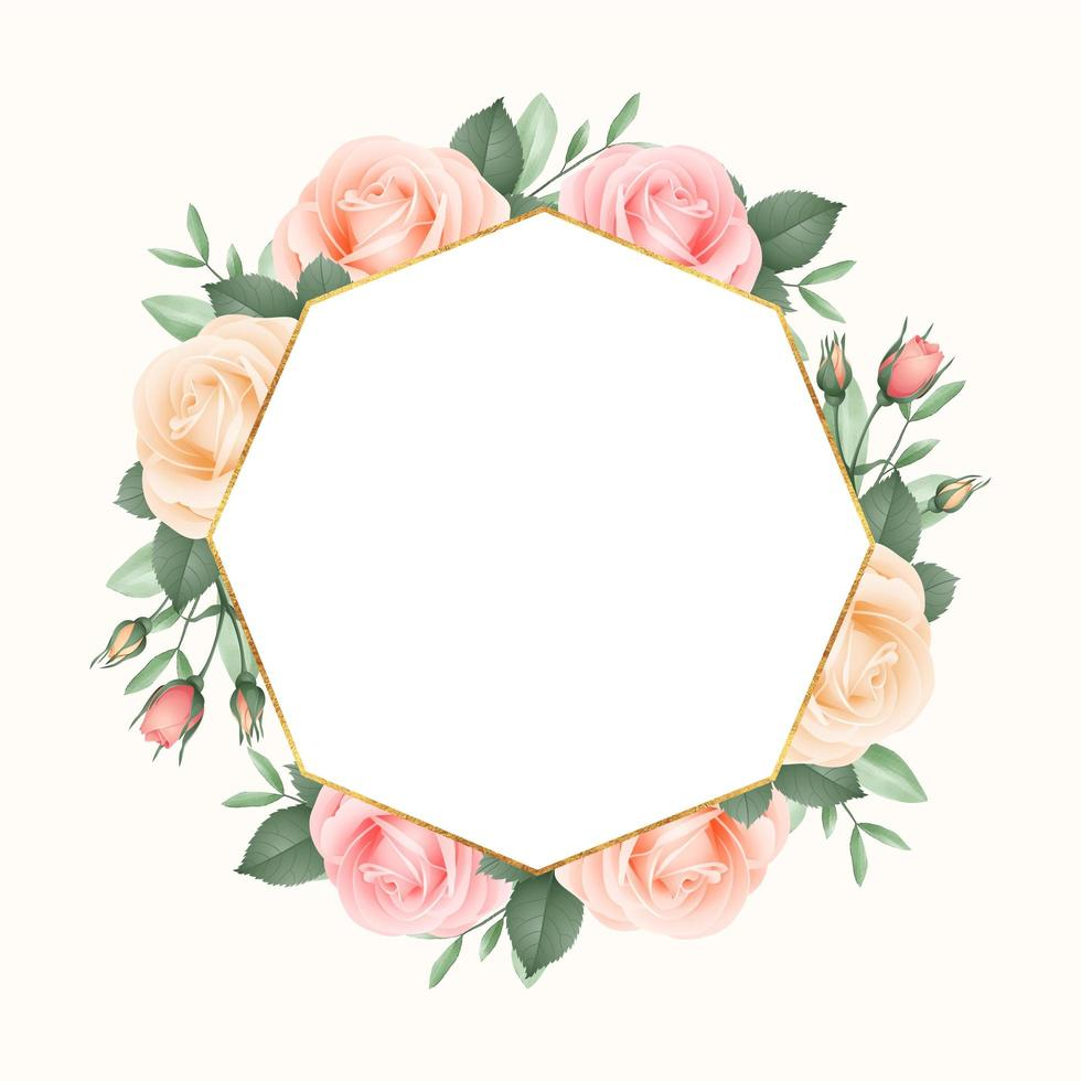 Blush Roses Geometric Frame vector
