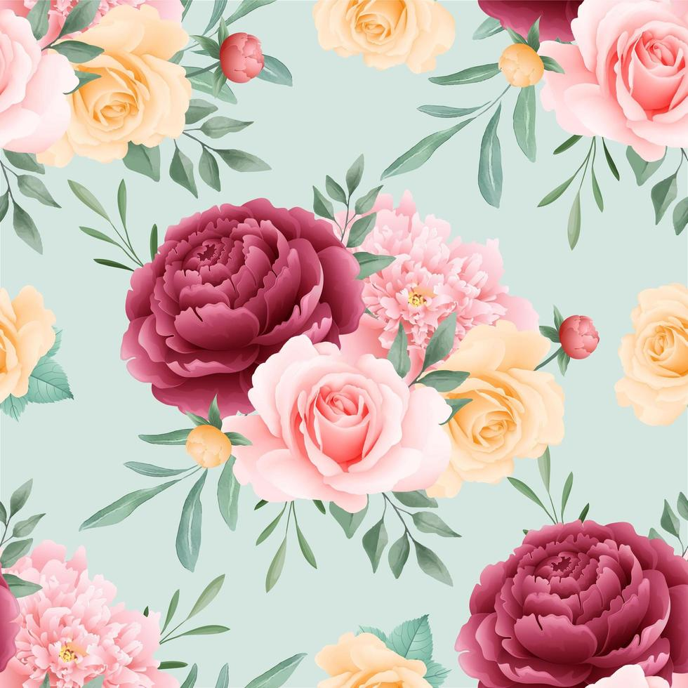 Roses Floral Seamless Pattern vector
