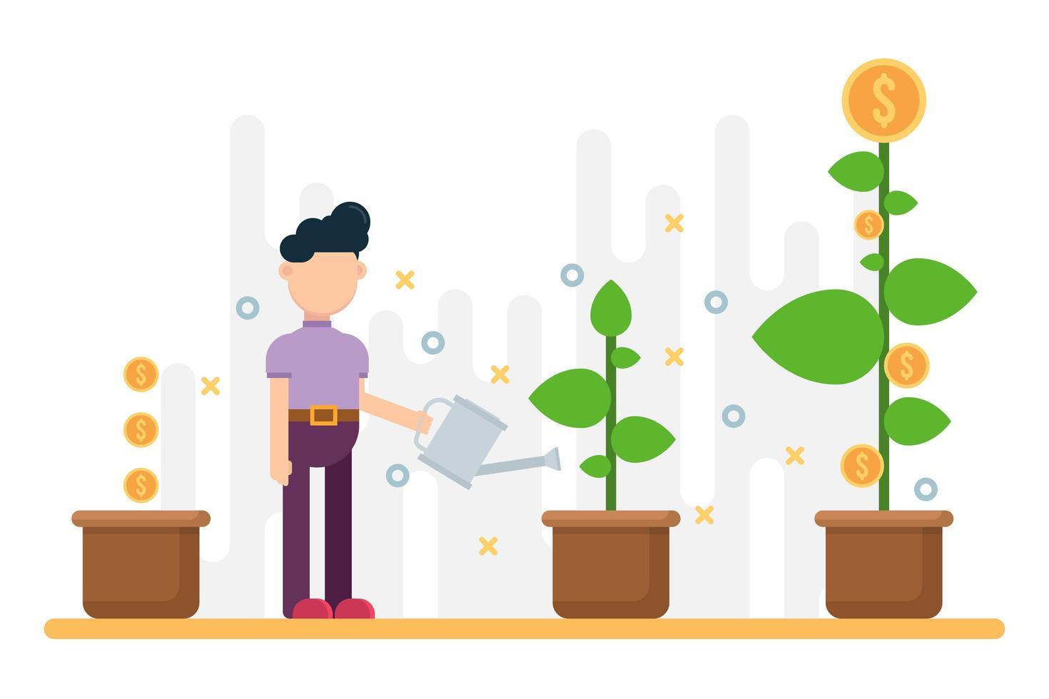 Concept of business success, growing money tree in pot vector