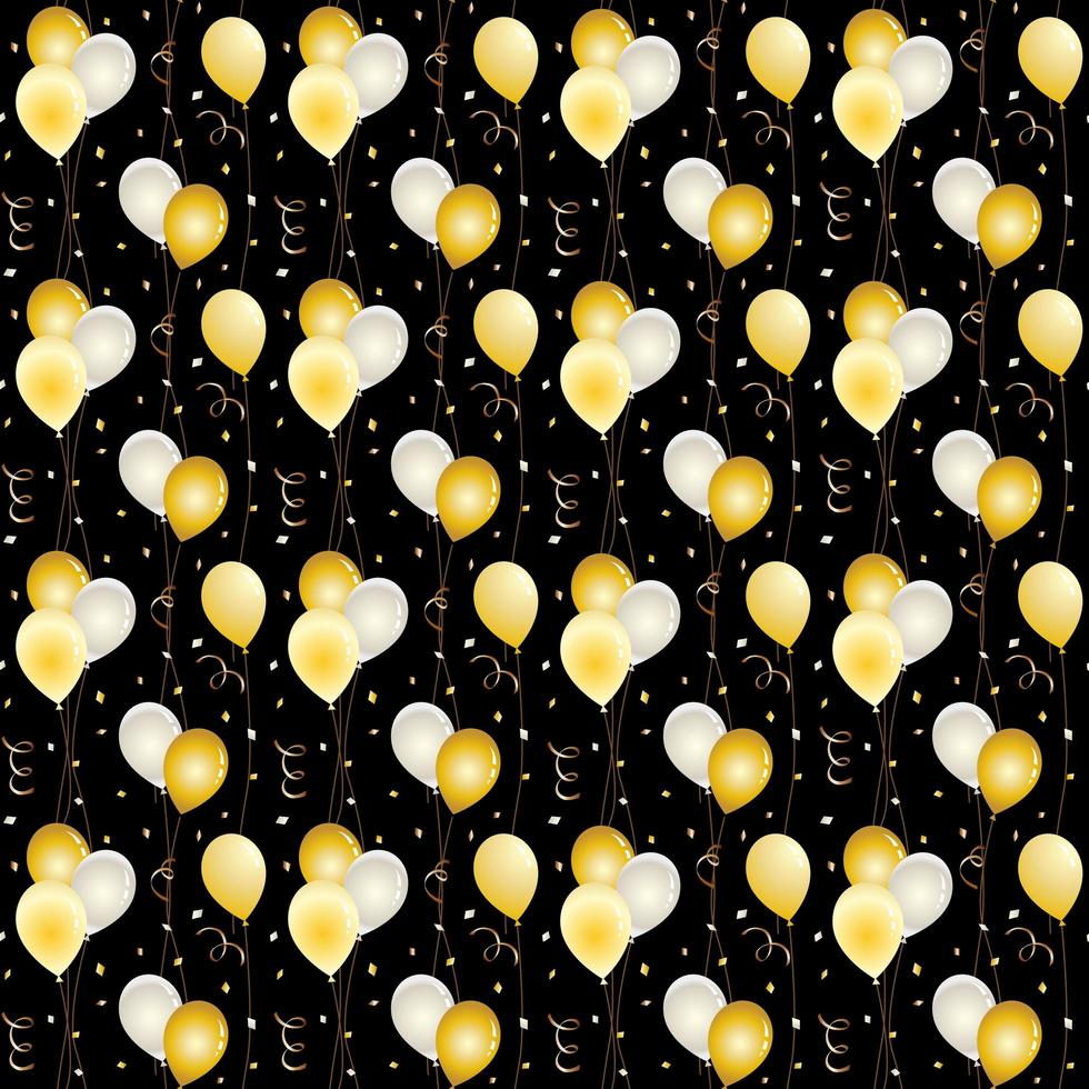 Seamless balloon and confetti pattern on black vector