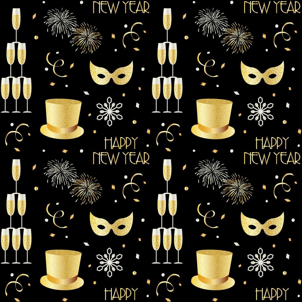 New years pattern with champagne fireworks and snowflakes vector