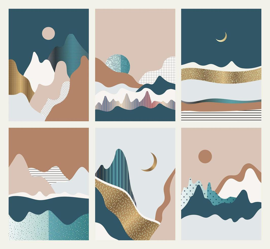 Set of abstract landscapes vector