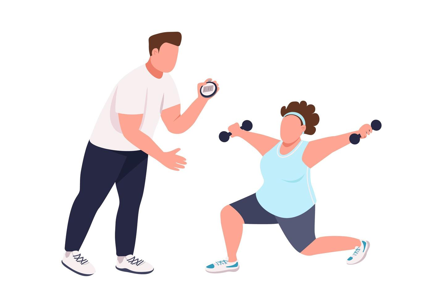 Woman with fitness instructor vector