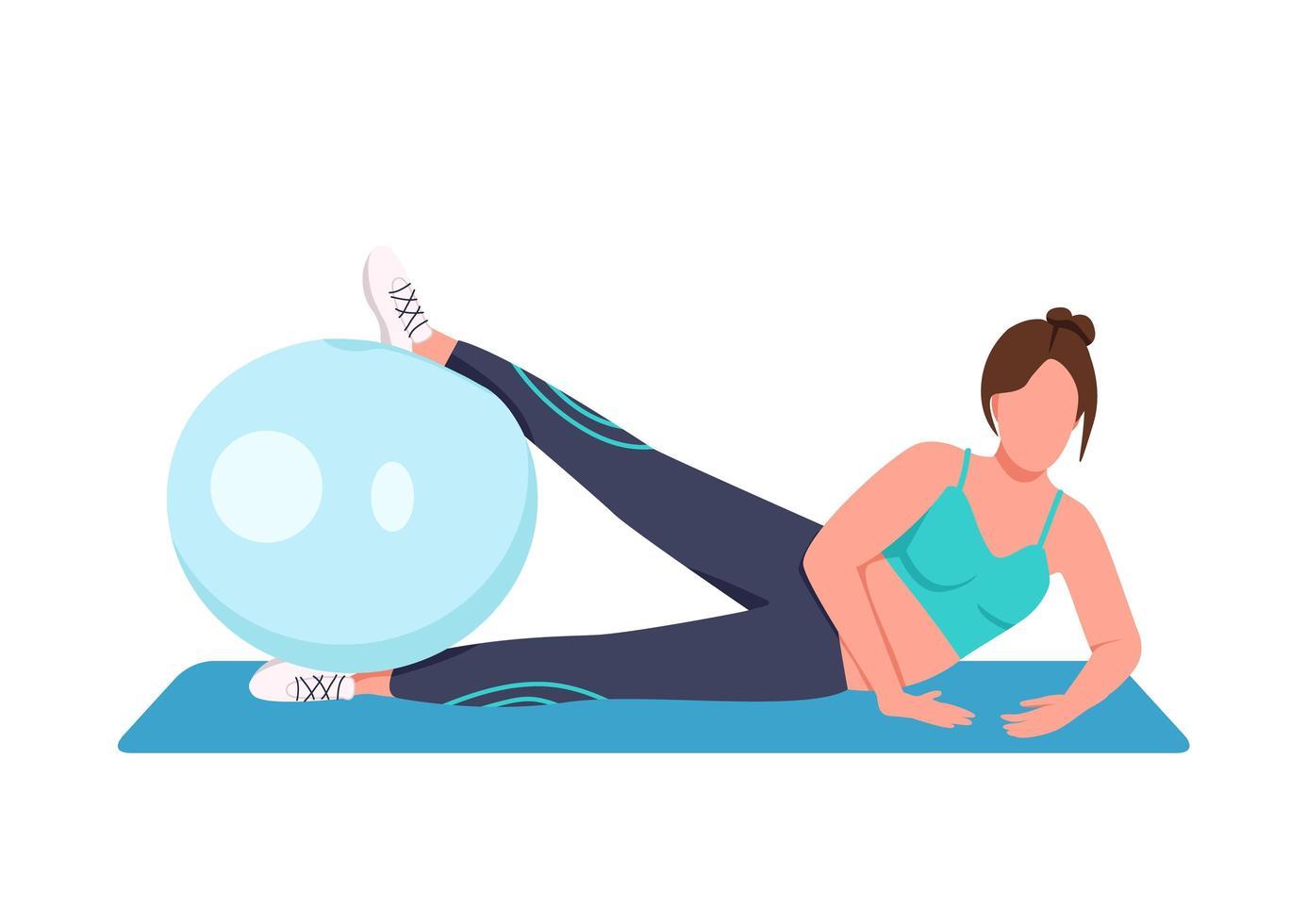 mujer entrenando con pelota suiza vector