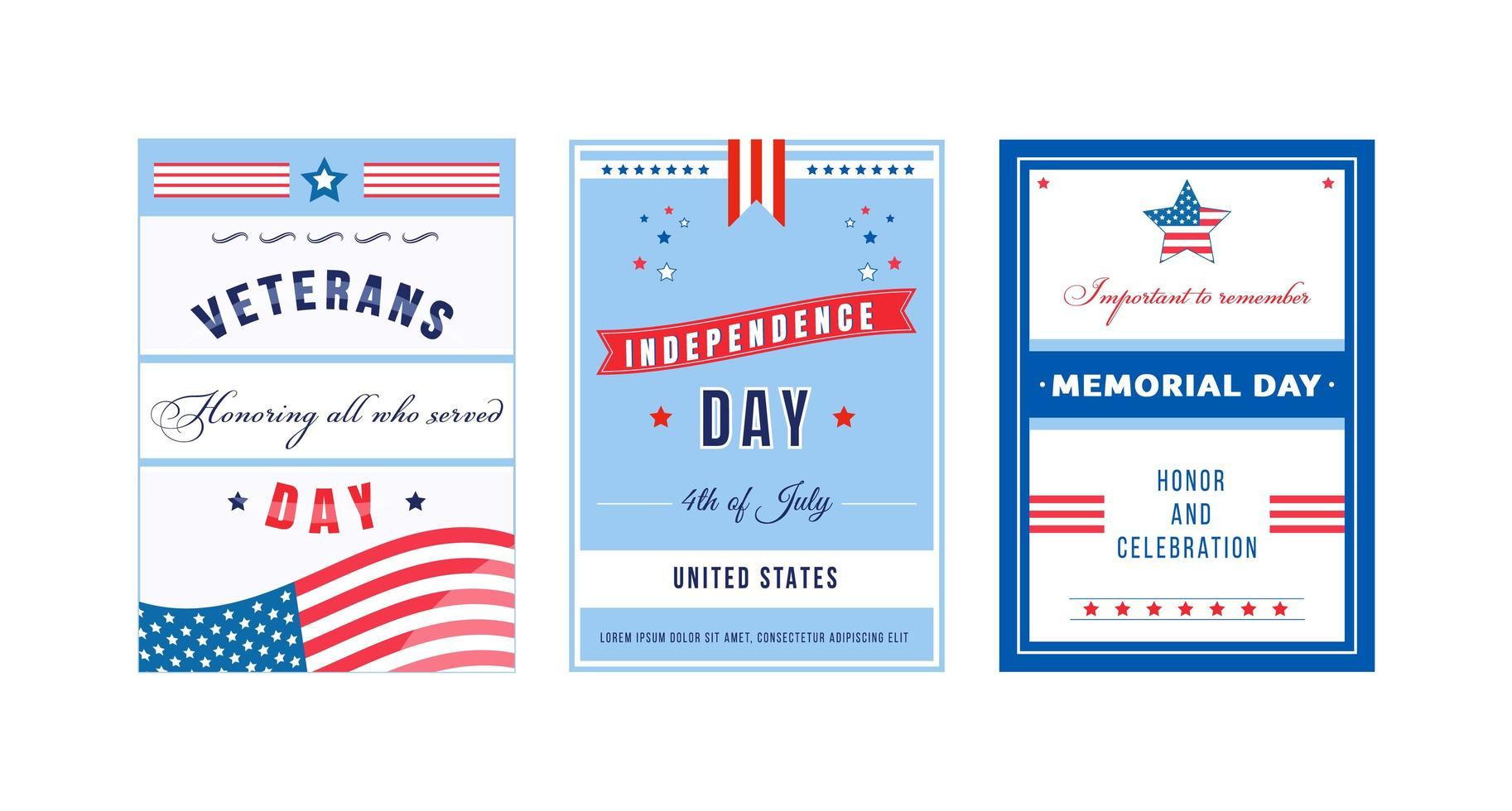 American celebration day poster set vector