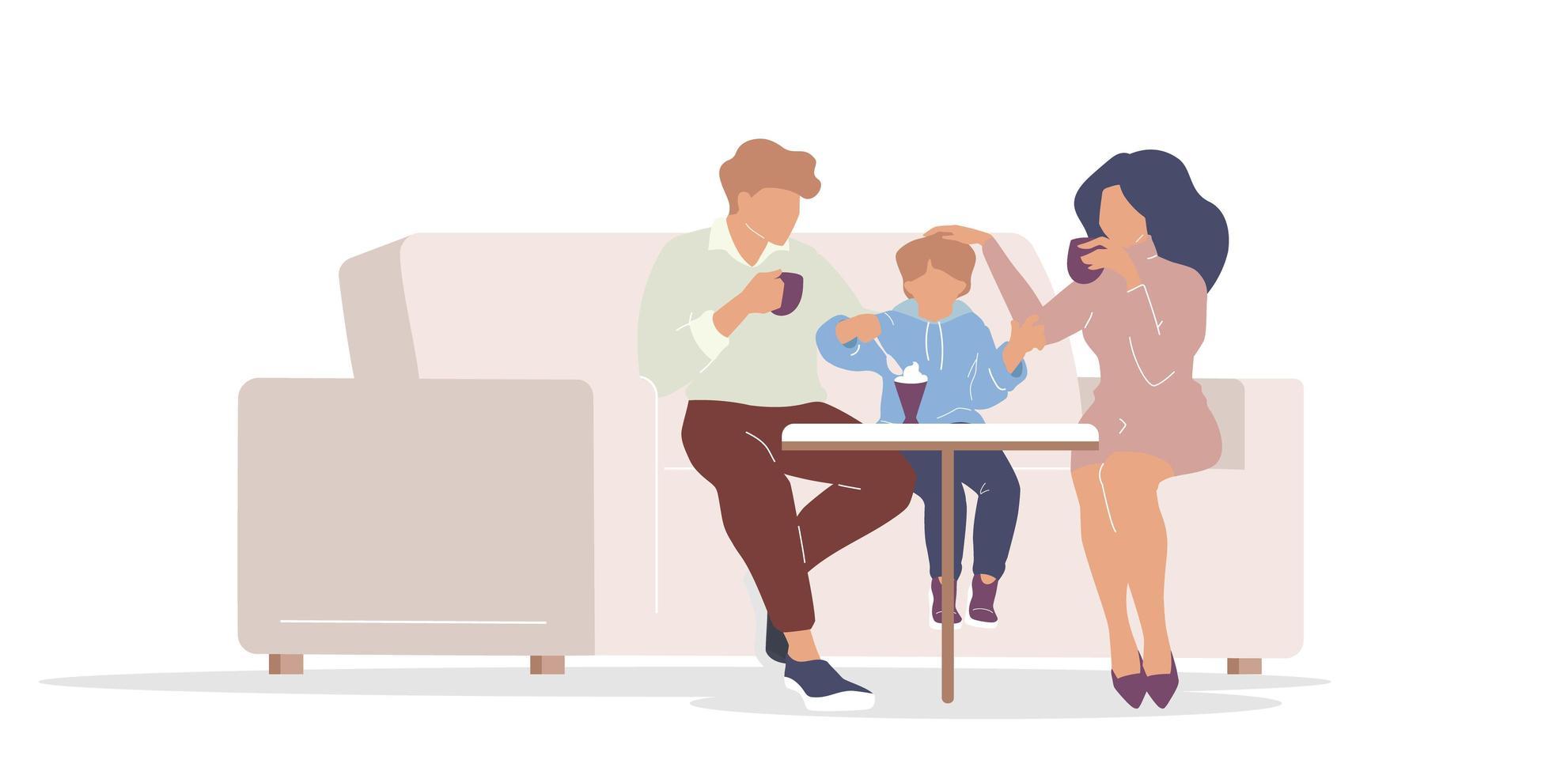 familia en cafe vector