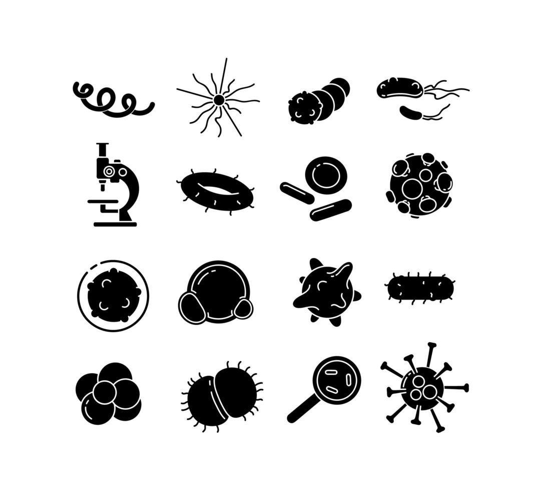 conjunto de iconos de glifo de bacterias vector