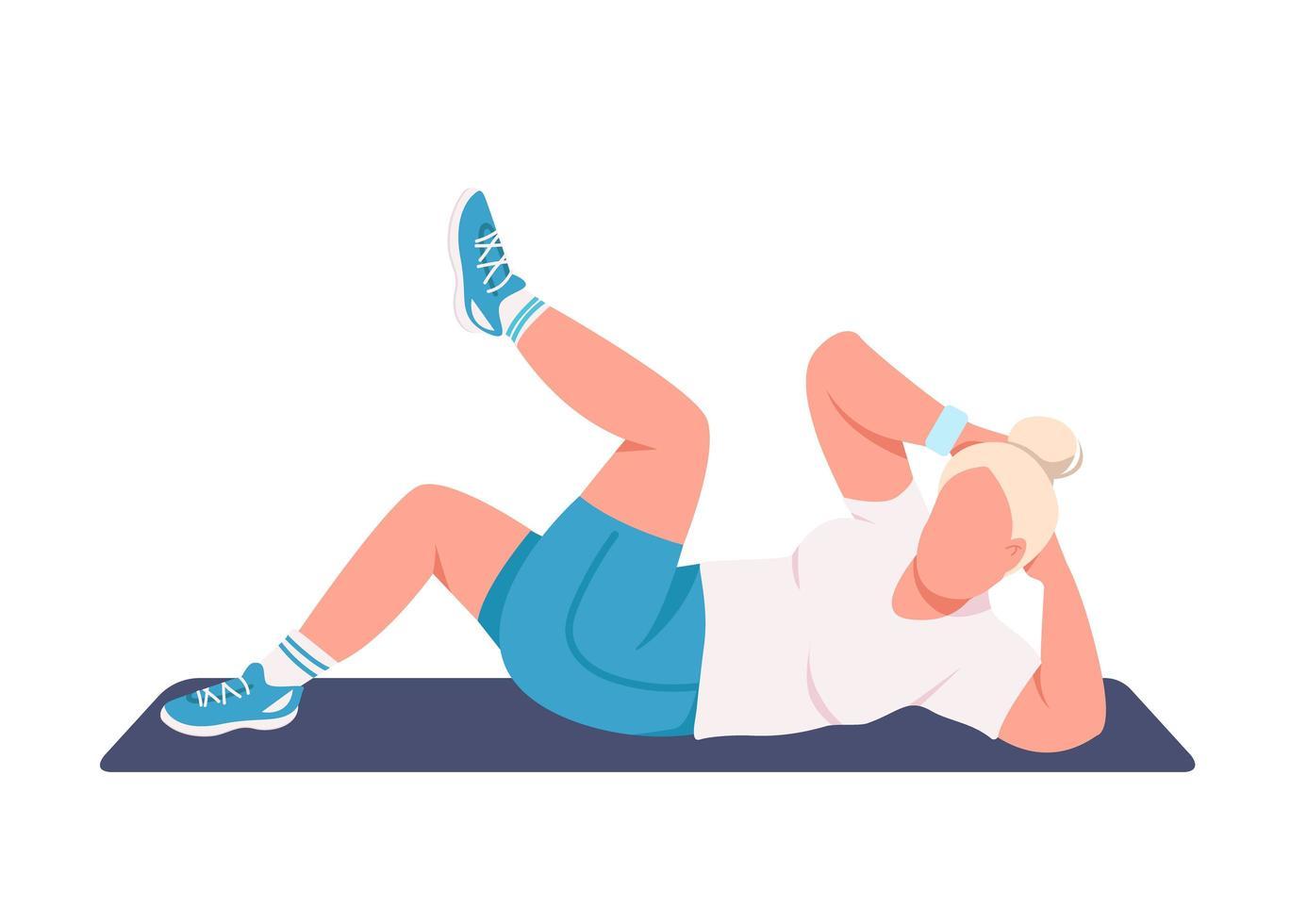 Sportswoman doing crunches vector