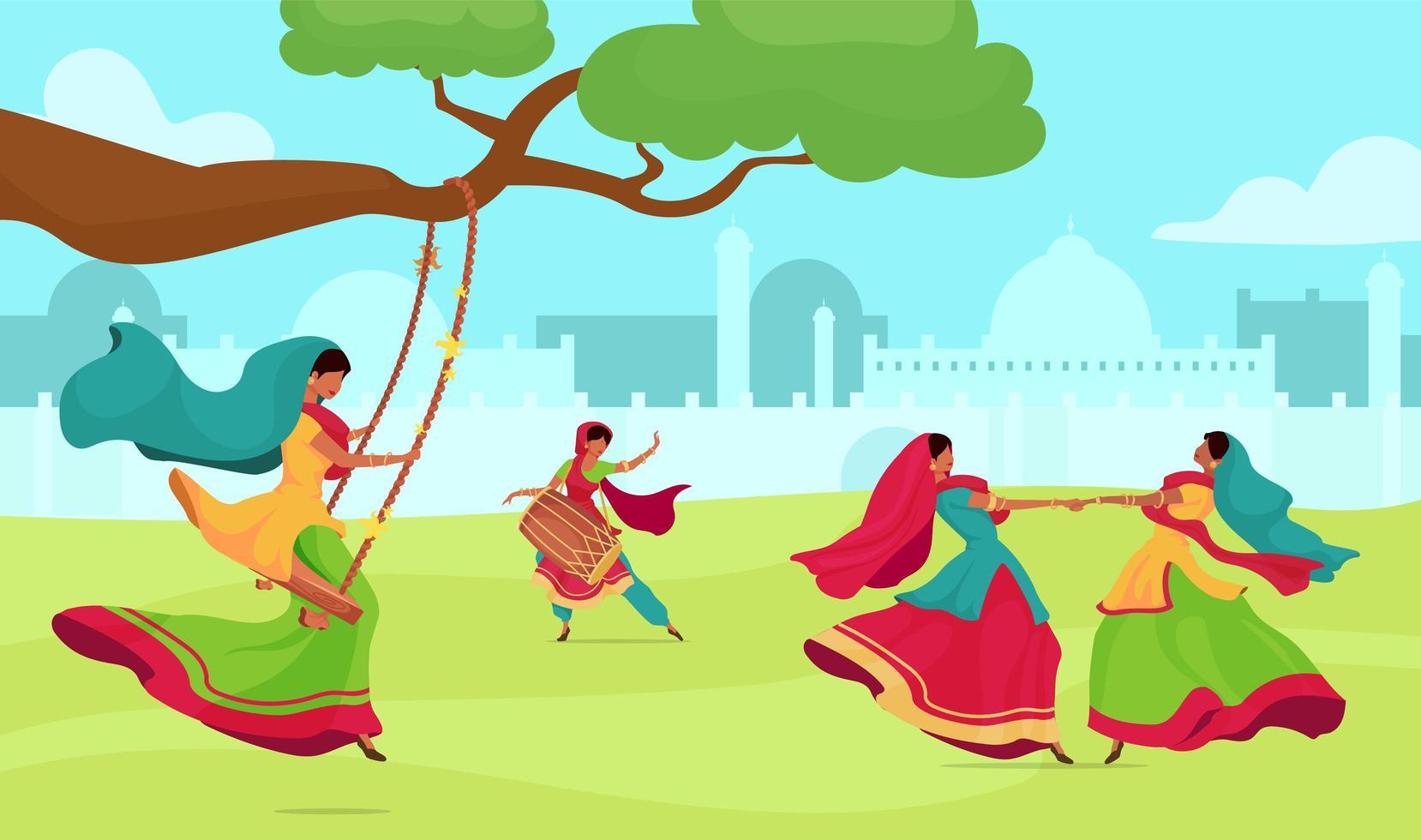 Teej festival celebration vector