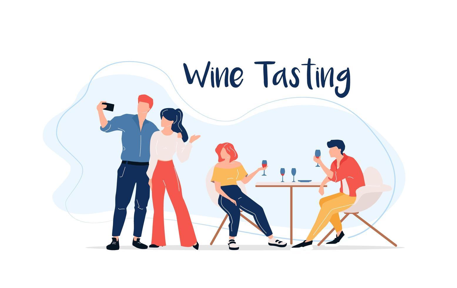 grupo de cata de vinos vector