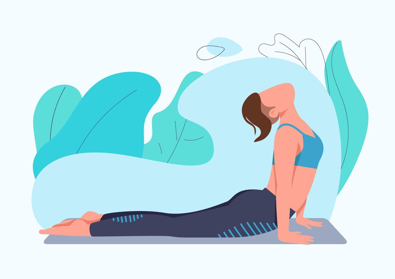 mujer deportiva haciendo ejercicio de yoga vector