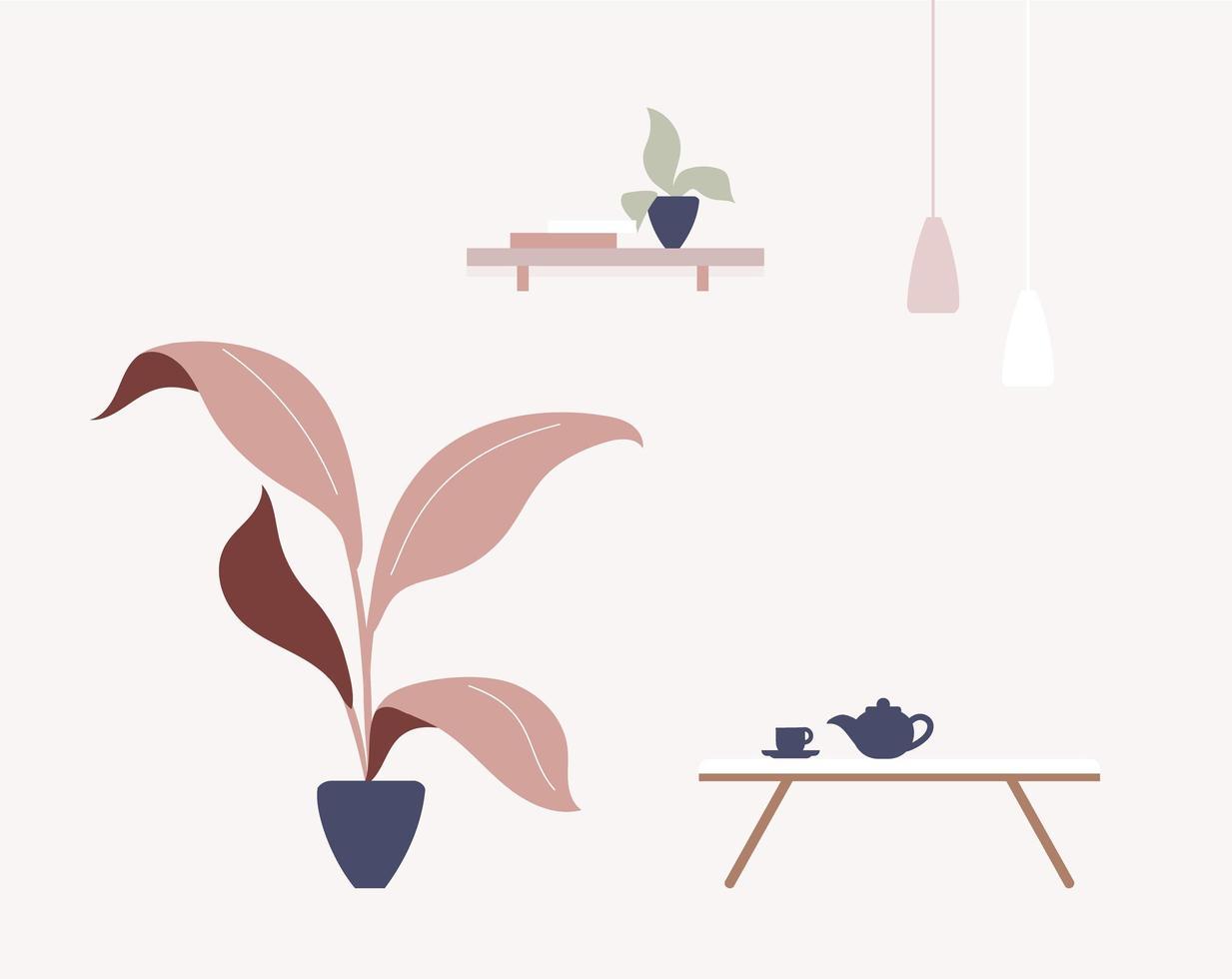 Cafe interior scene vector