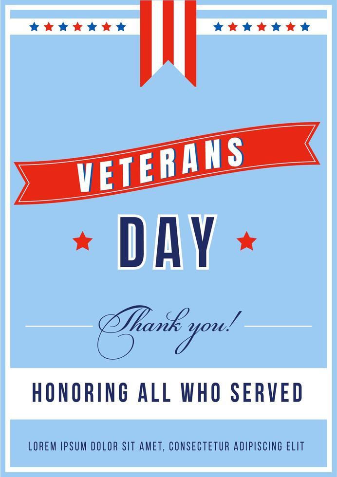 Veterans Day poster vector