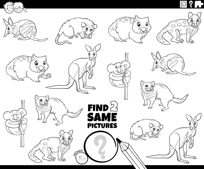 Encuentra dos mismos animales página de libro de color. vector