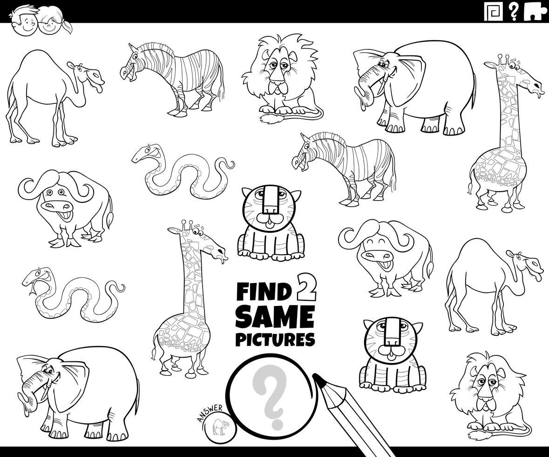 Encuentra dos personajes de animales del mismo color. vector